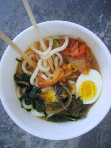 Super easy with cooked Udon noodles found in the frozen section. This Asian fusion soup whipped up in just a few minutes.