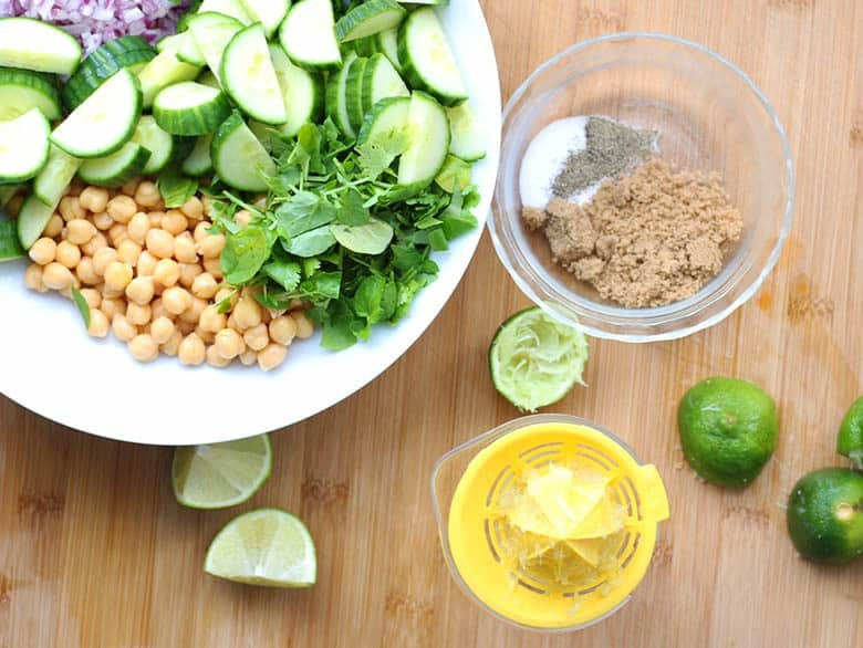 All of the ingredients for Chana Chaat.
