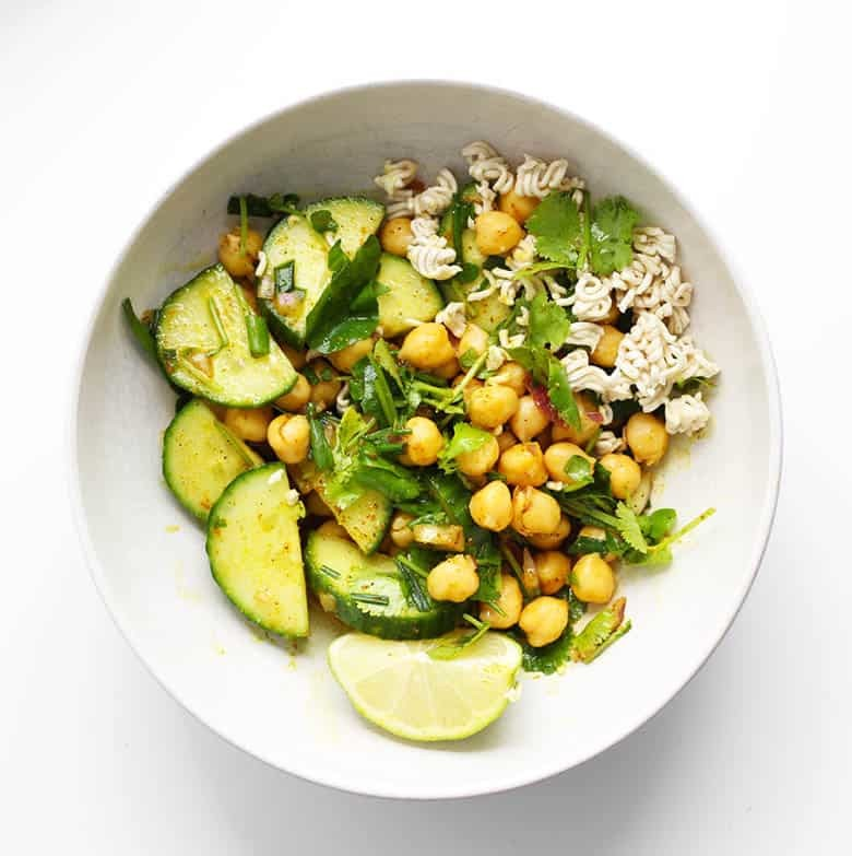 Chana Chaat Salad in a white bowl.