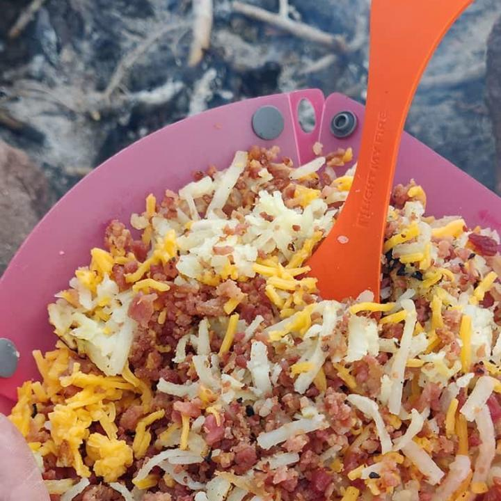 Backpacking Hashbrowns with Bacon and Cheese