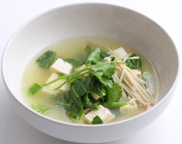 A bowl of Chinese Vegetable Soup.