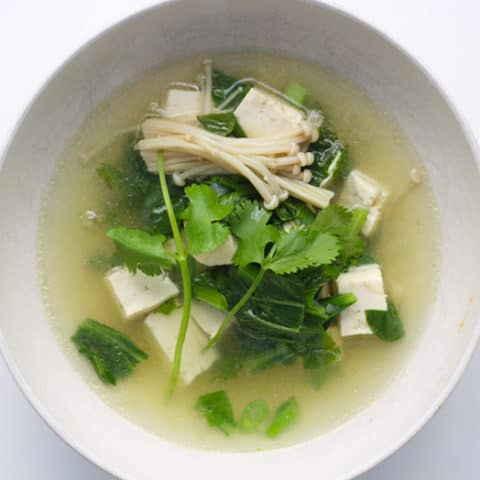 A bowl of Chines Vegetable Soup.
