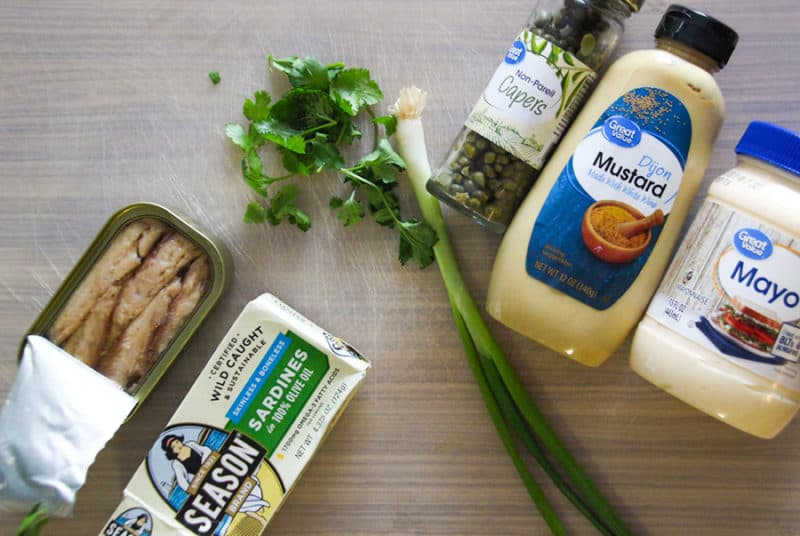 Sardine salad ingredients.